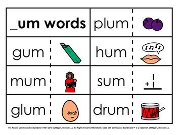 Word Family Sorts - Short Vowels (Set 5: Short U)