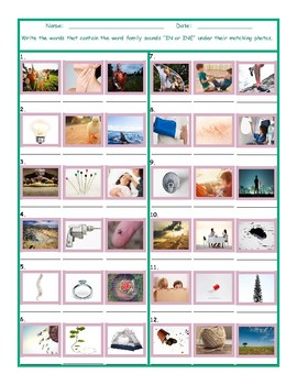 Word Family Sounds IN-INE Worksheet
