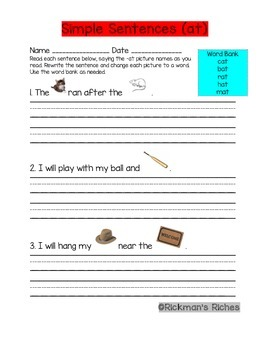 -at Word Family Spelling Practice Sheets