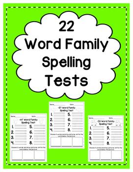 Word Family Spelling Tests: Short Vowels (BUNDLE)