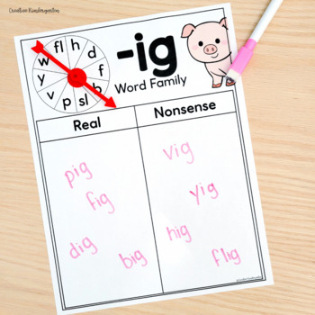 Word Family Spin! Real or Nonsense Word Write & Swipe