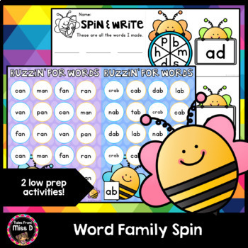 Word Family Spin, Write and Cover