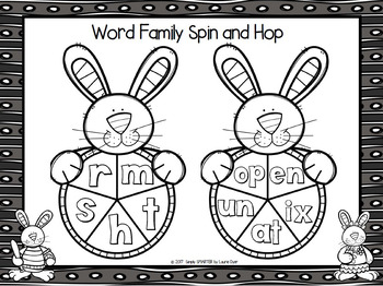 Word Family Spin and Hop:  NO PREP Spring Themed Spin Game