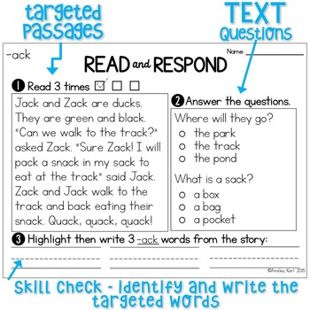 Reading Passages for Fluency/Comprehension - Word Families Pt. 1 - PREVIEW!
