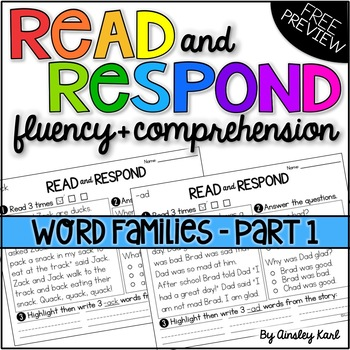 Reading Passages for Fluency and Comprehension - Short Vow