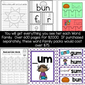 Word Family Word Work Collection