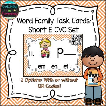 Word Family Task Cards: Short E CVC Set