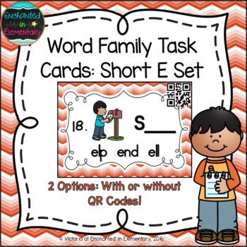 Word Family Task Cards: Short E Set