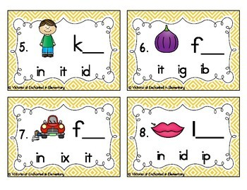 Word Family Task Cards: Short I CVC Set