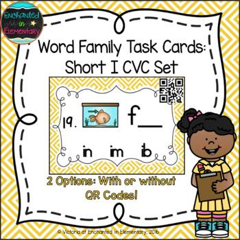 Word Family Task Cards: Short I CVC Set