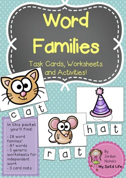 Word Family Task Cards, Worksheets and Activities!