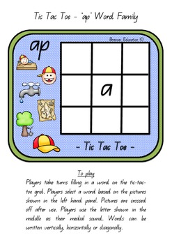 Word Family Tic Tac Toe
