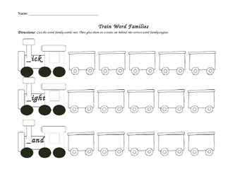 Word Family Trains Cut and Paste Activity
