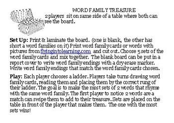 Word Family Treasure Game