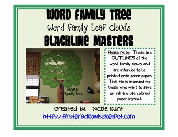 Word Family Tree Leaf Clouds BLACKLINE MASTERS