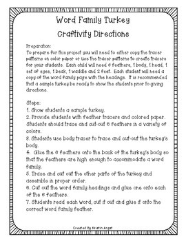 Thanksgiving Word Family Turkey Craftivity FREEBIE