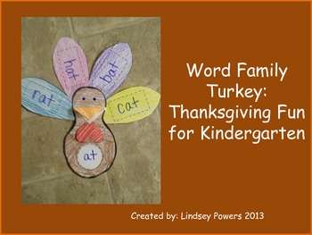 Word Family Turkey: Thanksgiving Fun for Kindergarten