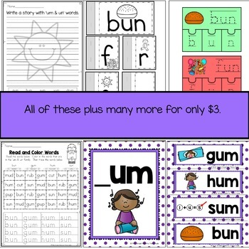 Um and Un Word Family Word Work