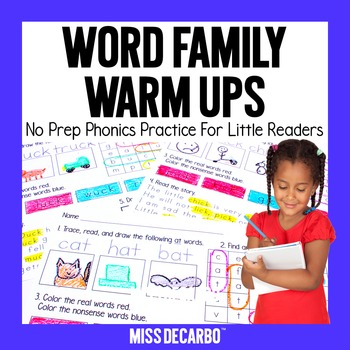 Word Family Warm Ups No Prep Phonics Practice for Little Readers