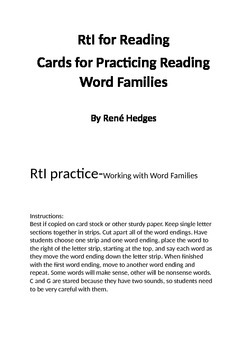 Word Family Warm-up Cards