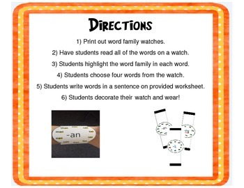Word Family Watches!