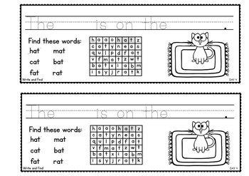 cvc Word Family Week of Writing {Freebie}