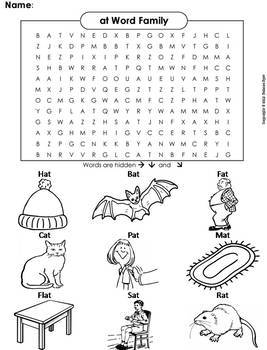 Word Family Word Search Bundle: Color in Worksheets
