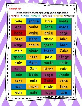 Word Family Word Searches Long a to Long u ***BUNDLE***