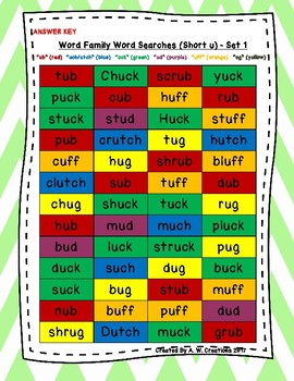 Word Family Word Searches (Set of 4) - Short u