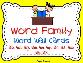 Word Family Word Wall Cards