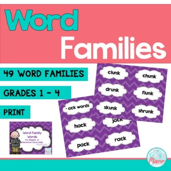 Word Family Word Wall Cards (49 word families) Purple Chevron
