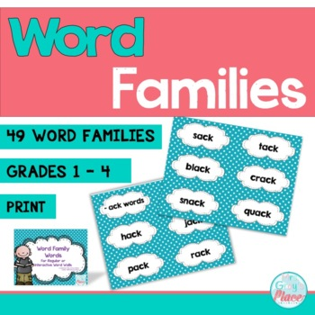 Word Family Word Wall Cards (49 word families) Turquoise Polka