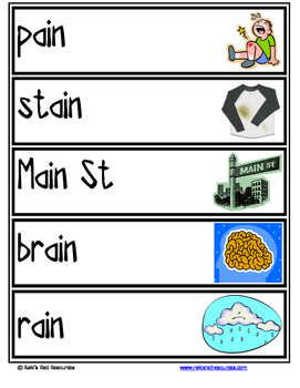 Word Family Word Wall Cards for AIN Family with Pictures