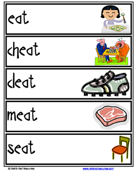 Word Family Word Wall Cards for EAT Family with Pictures