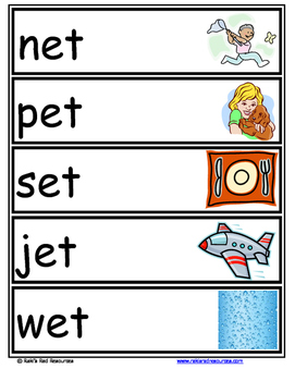 Word Family Word Wall Cards for ET Family with Pictures