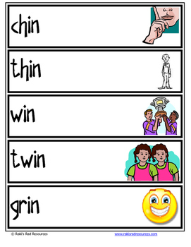 Word Family Word Wall Cards for IN Family with Pictures