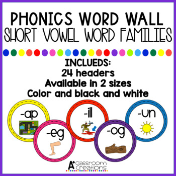 Word Wall Headers:  Short Vowel Word Families {black/white and color}