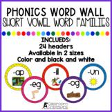 Word Wall Headers:  Short Vowel Word Families {black/white
