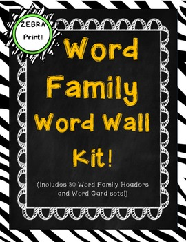 Word Family Word Wall Kit: Zebra Print (30 word families)