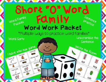 Word Family Short O Word Work