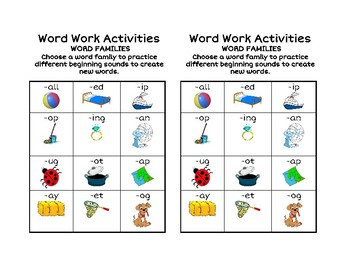 Word Family Word Work Activity Menu