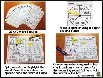 CVC Short Vowels Word Family Game: Spin and Search