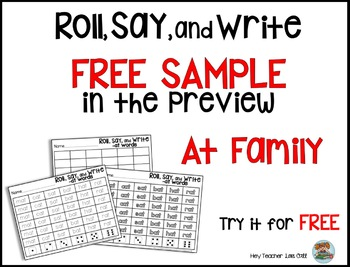 CVC Word Families: Roll, Say, and Write CVC Game