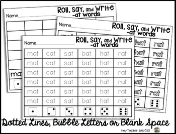CVC Word Family Game: Roll, Say, and Write