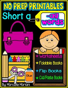 Word Family Word Work- Short A- AG Word Family NO PREP Lit
