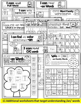 Word Family Word Work- Short A- AN Word Family NO PREP Literacy Packet