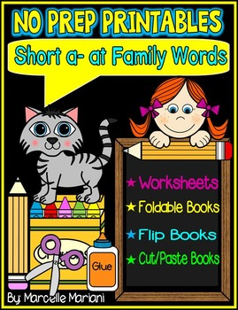 Word Family Word Work- Short A- AT Word Family NO PREP Lit