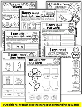 Word Family Word Work- Short E- EG Word Family NO PREP Literacy Packet