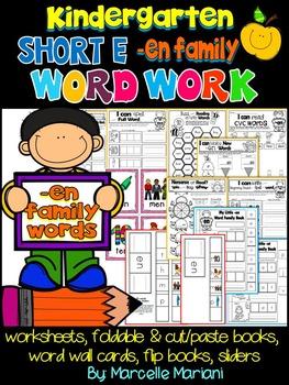 Word Family Word Work- Short E- EN Word Family Literacy Packet