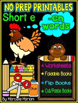 Word Family Word Work- Short E- EN Word Family NO PREP Literacy Packet